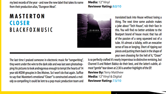 "5 Magazine from Chicago reviewed Masterton's ""Closer"""